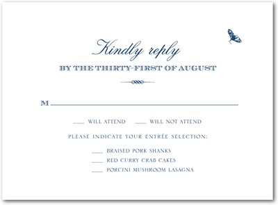 Framed Floral Thermography Wedding Response Cards TH Navy