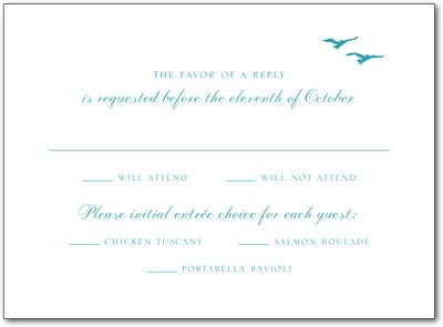 Tandem Flight Thermography Wedding Response Cards TH Robins Egg