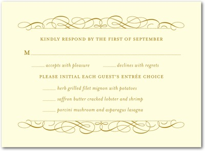 Fine Flourish Thermography Wedding Response Cards TH Gold