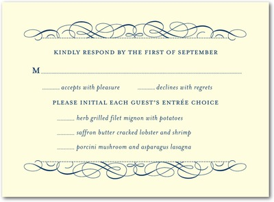 Fine Flourish Thermography Wedding Response Cards TH Navy