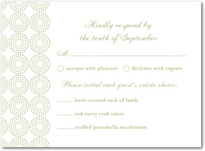 Pure Glamour Thermography Wedding Response Cards TH Celery