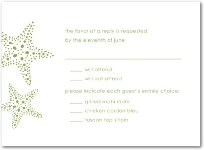 Starry Pair Thermography Wedding Response Cards TH Celery