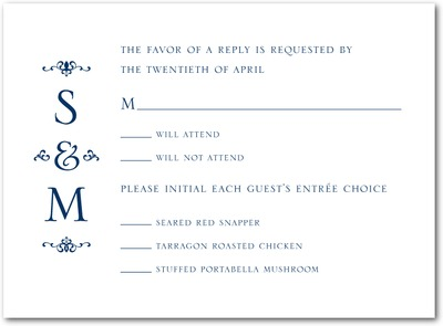 Dapper Duo Thermography Wedding Response Cards TH Navy