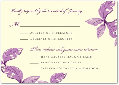 Enchanting Story Signature Ecru Wedding Response Cards Eggplant