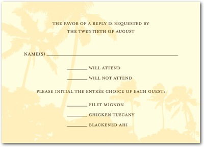 Tropical Tryst Signature Ecru Wedding Response Cards Bisque