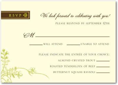 Forest Flora Signature Ecru Wedding Response Cards Fern