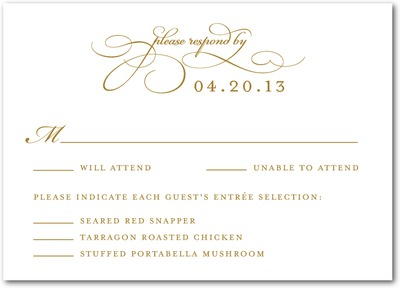 Endearing Script Signature White Wedding Response Cards Umber