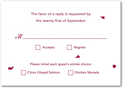 Falling Petals Signature White Wedding Response Cards Cabernet