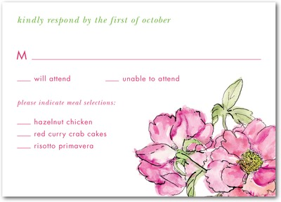 Dreamy Peony Signature White Textured Response Cards Begonia