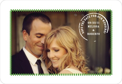 Postal Perfection Save The Date Magnets Green