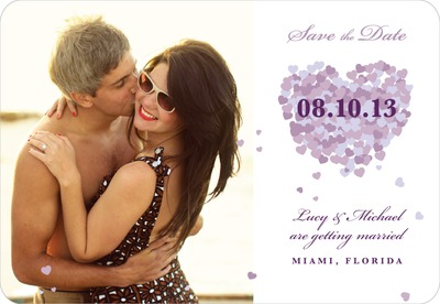Scattered Hearts Save The Date Magnets Purple
