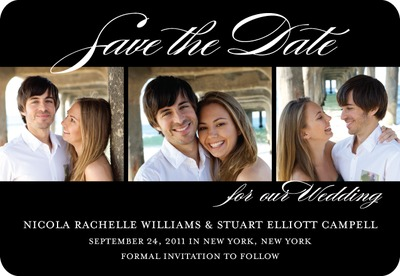 Stunning Script Save The Date Magnets Black