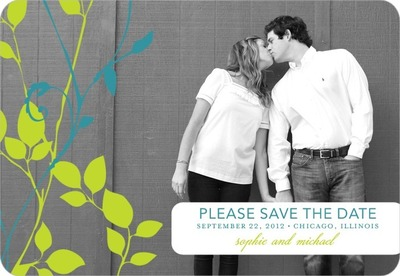 Natural Pair Save The Date Magnets Bright Green