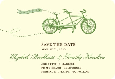 Tandem Bike Save The Date Magnets Emerald