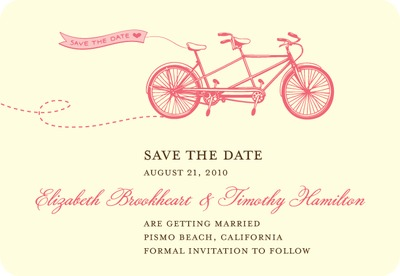 Tandem Bike Save The Date Magnets Medium Pink