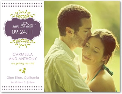 Stylish Springtime Save The Date Postcards Deep Purple