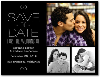 Inscribed Infinity Save The Date Postcards Black