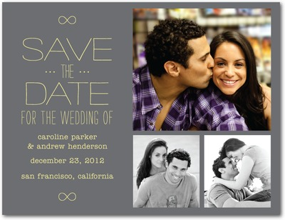 Inscribed Infinity Save The Date Postcards Gunmetal
