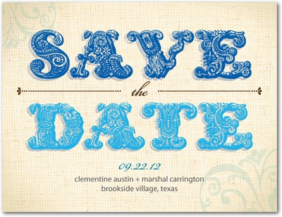 Embellished Swirls Save The Date Postcards Capri Blue