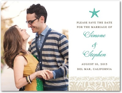 Stylish Starfish Save The Date Postcards Bay
