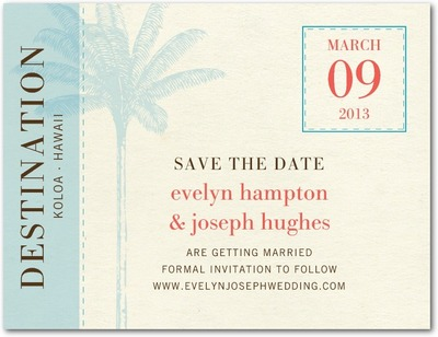 Tropical Sojourn Save The Date Postcards Aqua