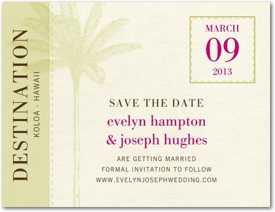 Tropical Sojourn Save The Date Postcards Chartreuse