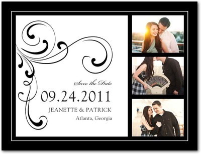 Simple Elegance Save The Date Postcards Black