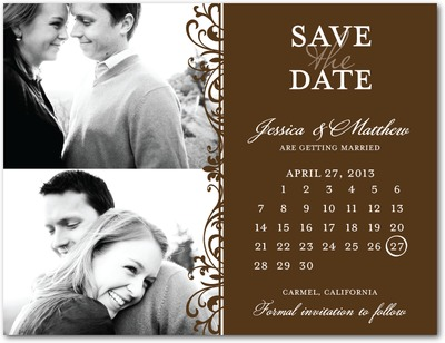 Exquisite Style Save The Date Postcards Chocolate