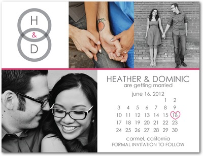 Looped Monogram Save The Date Postcards Begonia