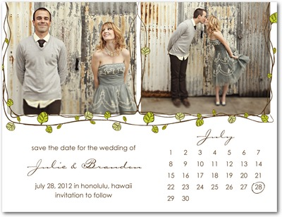 Charming Vines Save The Date Postcards White