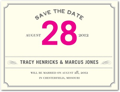 Elegant Ticket Save The Date Postcards Fuchsia