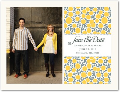 Banded Floral Save The Date Postcards Mustard