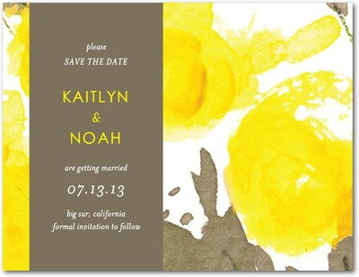 Indian Summer Save The Date Postcards Sunny Yellow