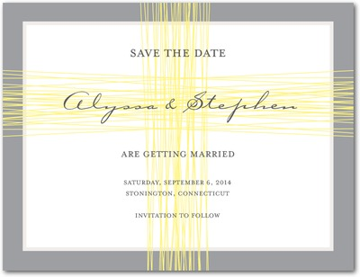 True Threads Save The Date Postcards Citron