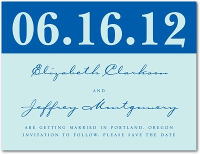 Large Type Save The Date Postcards Capri Blue