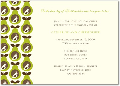 Partridge Pears Holiday Party Invitations Midori