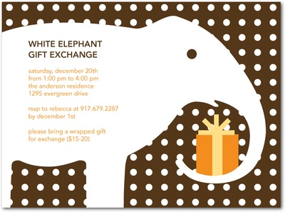 Snow Elephant Holiday Party Invitations Chocolate