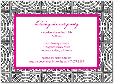 Chic Circles Holiday Party Invitations Fuchsia