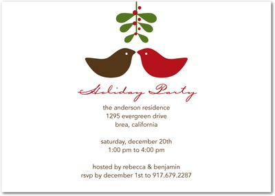 Little Peck Holiday Party Invitations Chocolate
