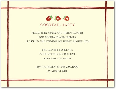 Strawberry Fields Signature Ecru Party Invitations Rich Red