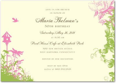 Tea Garden Signature Ecru Party Invitations Heather