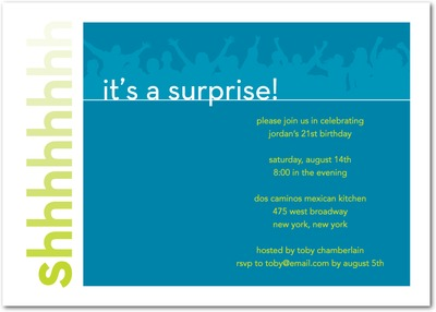 Shhh...Surprise Signature White Party Invitations Luxe Turquoise