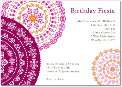 Delicate Doilies Signature White Party Invitations Raspberry