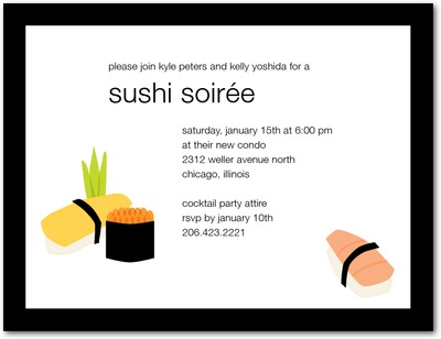 Sushi Paradise Signature White Party Invitations Black Russian