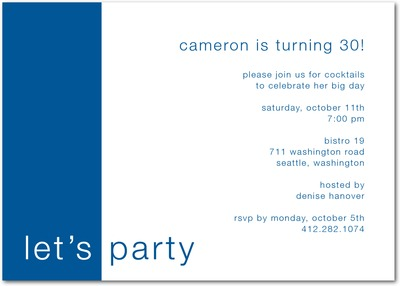 Bold Birthday Signature White Party Invitations Blue Moon
