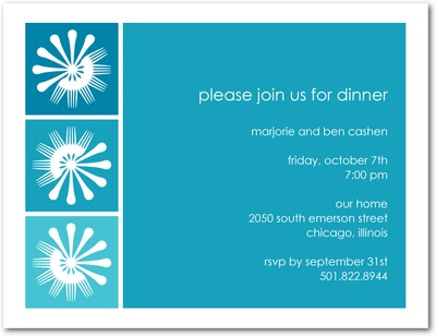 Fierce Forks Signature White Party Invitations Aqua