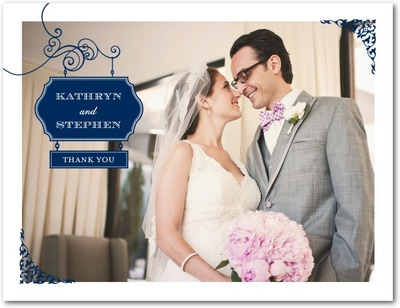 Wedding Sign Thank You Postcards Navy