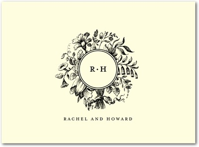 Romantic Rosette: 1 Color Letterpress Thank You Cards Black