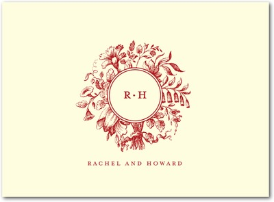Romantic Rosette: 1 Color Letterpress Thank You Cards Crimson