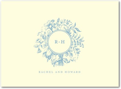 Romantic Rosette: 1 Color Letterpress Thank You Cards Lagoon